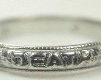 Antique Diamond Eternity Band Platinum Ring Size 5.25 Until Death Do US Part | RET-265