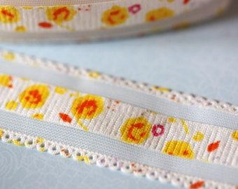 White grosgrain Ribbon flower with tulle
