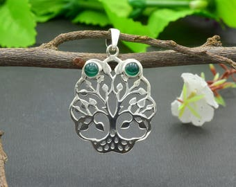 Natural Green Onyx Round Gemstone Pendant 925 Sterling Silver P7