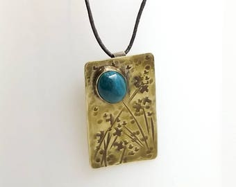 Chrysocolla and Brass Floral Pendant Necklace