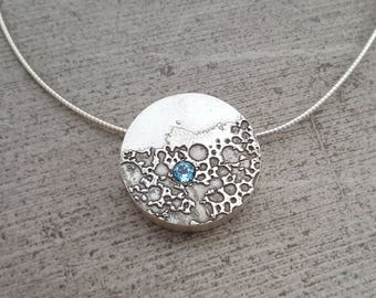 S1NIST0R Beer Speak Sterling Silver Necklace with Blue Topaz