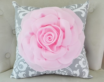 Damask Pillow. Light Pink Rose on Gray and White Damask Pillow. Ozborne Pillows