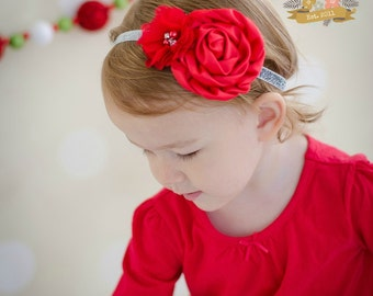 Red & Silver Glitter  Headband - Baby Toddler Girls Ladies Winter Pearl Rhinestone Satin Rosette