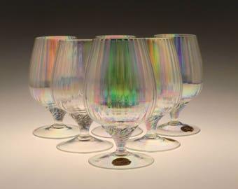 Czech Bohemian Iris Iridescent  set of Six Cognac Brandy Liqueur Glasses
