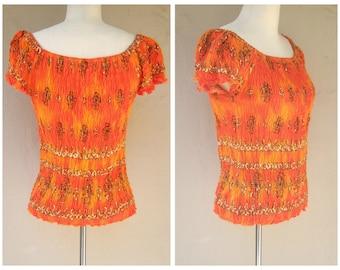Vintage stretch top / tribal print, ethnic vibe, orange ombre / womens xl 2x plus size