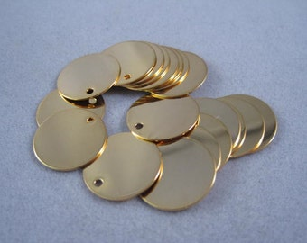 Stamping charm, gold or silver stamping charms, Round metal stamping charm, 6pc