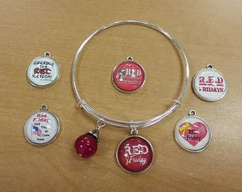 Remember Everyone Deployed Bracelet Bangle, RED charm, RED Jewelry, RED Friday Bracelet
