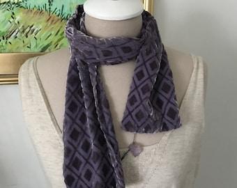 Vintage Gap Velvet Scarf Lavender Burned Out Velvet 100% Silk Holiday Accessories Head Wrap Purple Short Style Bohemian Gifts Under 30 Boho