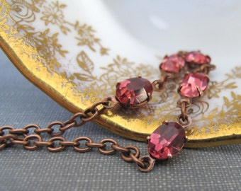 Rhinestone Necklace, Pink Necklace, Rose Pink Jewel, Copper Chain, Chain Necklace, Vintage Glass, Copper Necklace, Rose Pink