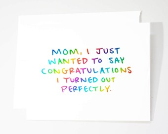 Sarcastic Mothers Day Card / Real Foil Card / Funny Card for Mom / Mothers Day Greeting Card / Mom Day / Funny Foil Card / Greeting Card