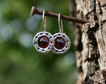 Sterling Silver Earrings, Garnet Earrings,Red Stone Earrings, Handmade 925 Silver Earrings,Sterling Earrings