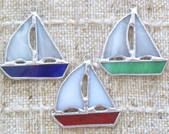 Sailboat ornament set 3 stained glass sailing ship ornaments