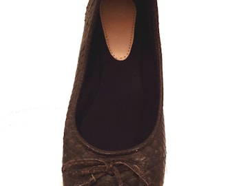 CHOCOLATE BROWN python ballet flats
