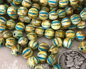 6mm Czech Pressed Glass Picasso Fluted Melon Bead Spacer (25) Boho Gypsy Distressed Milky Cream Turquoise Wash Picasso Central Coast Charms