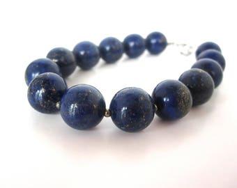 Lapis Bracelet, 12mm Lapis Bead Bracelet, Genuine Lapis Lazuli, Lapis Jewelry, Blue Lapis Bracelet, Pyrite Beads, Lapis Pyrite Bracelet
