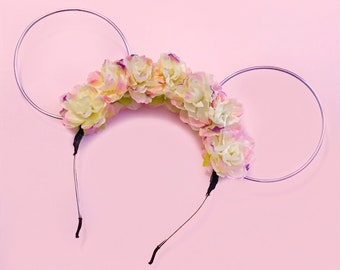 Blush and Lavender Flower Crown with Lilac Wire Mouse Ears