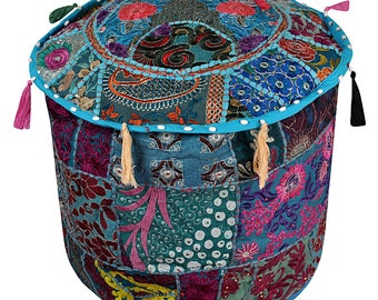 "22"" Floral Embroidered Patchwork Round Ottoman Pouf Cover Ethnic Footstool Cover Throw Vintage Bean Bag"