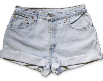 Vintage 90s Levi's Light Blue Wash High Waisted Rise Cut Offs Cuffed Rolled Jean Denim Shorts – Size 29