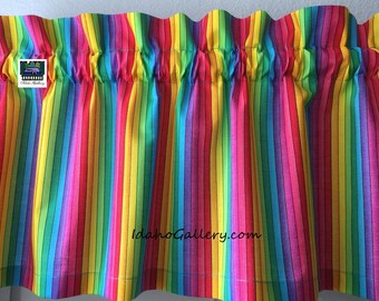 "Painted Rainbow Stripes Valance Teacher Classroom Daycare PreSchool Valance Kitchen Curtain Short Curtain 11"" x 41"" Wide at Idaho Gallery"