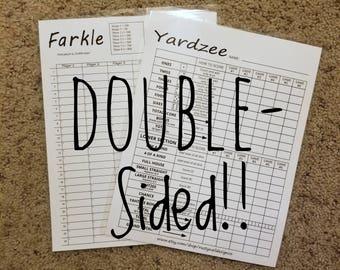 Yardzee Yahtzee Score Sheet Scorecard Double-Sided Dry Erase Scorecard Yardzee/Farkle - Laminated 8-1/2x11 Cardstock