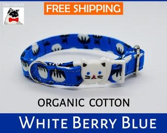 Breakaway cat collar 'White Berry' organic cotton collar,cat collar bell,safety cat collar,cute,blue cat collar,kitten collar,Crafts4Cats