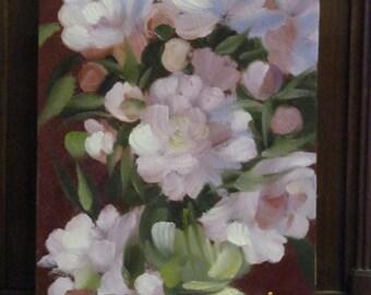Oil Painting. Peonies . Artist A.Shubert. Floral. Original. Signed