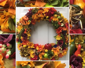 Thanksgiving wreath - Fall wreath - Harvest wreath - vegan or vegetarian gift - kitchen decor - kitchen and dining decor - Restaurant decor