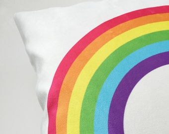 Rainbow Pillow, Decorative Pillow, Pillow for Kids Room, Colorful Throw Pillow, Cushion Cover, Modern Nursery Pillow, 18 x 18