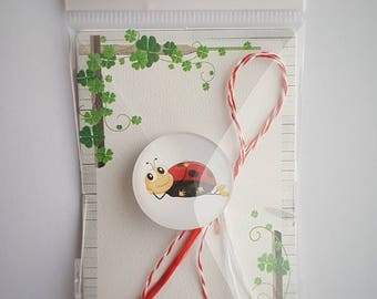 Martisor, Martenitsa, мартеница, μάρτης - lucky spring charm, talisman, March 1st celebration - red and white string mamaruta ladybug bubuza