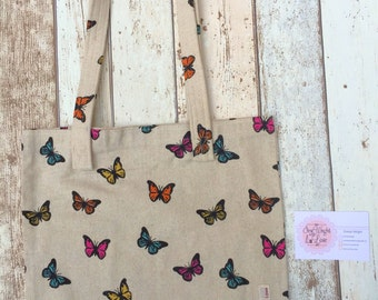 Tote bag, cotton canvas bag, butterfly tote, butterfly shopping bag, cream handbag,