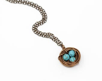 Gift For Mom - New Mom Gift - Mothers  Necklace - Turquoise Bird Nest Necklace - Christmas Gift For Mom - Family Jewelry - Woodland Necklace