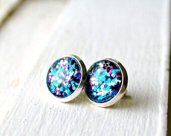 glitter stud earrings, colorful earrings, post earrings, gift for her, gifts for girls, under 10