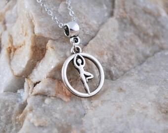Vrksasana yoga pendant, yoga necklace, meditation jewelry, hinduism necklace, spiritual jewelry, yoga poses