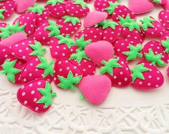 20 Applique tiny strawberry deep pink