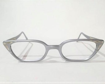 50s 60s Cat Eye Glasses, NOS, Artcraft Gray or Silver Aluminum Etched Cateye Glasses, New Old Stock, Pointy Cat Eyeglasses Rockabilly Pin Up