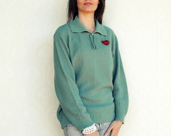 "Vintage pullover/sweater, medium to large - Grey Green . . . . . . . ""Like"" our fb page for 10% discount"