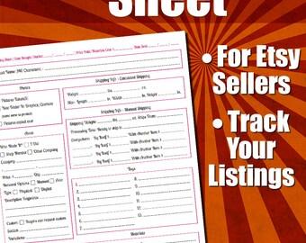 Etsy Products Listing Sheet   Etsy Seller, Form, Listing Template, Etsy Template, For Etsy Sellers, Seller Tools, Etsy Tools, PDF Printable