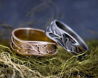 Organic Vine 14Kt  White Gold Wedding bands or engagement rings, organic wedding band, natural engagement ring, twig ring, woodland wedding