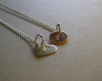 Stamped Pendant Necklace, Sterling Silver Heart or Copper Circle Stamped Pendant, Personal Pendant, Initial Pendant, Satin Finish