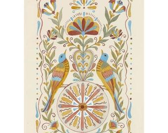 """Folk art frameable greeting card print, """"Felicity"""""""
