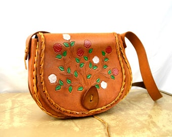 Vintage 1960s Floral Tooled Leather and Painted Purse