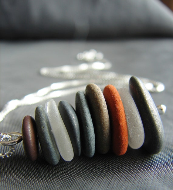 Sea Stack beach pebble and sea glass necklace in white, stone and brick red