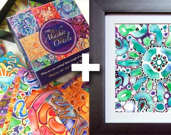 Akashic Oracle Deck & Framed Art Print ~ Visionary Art and Affirmations ~ Healing gift for the home <3