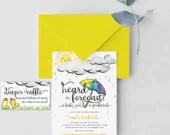 Digital Download/ April Shower Invitation/ Baby Shower Invite/ Rain Baby Shower/ Girl or Boy Shower/You are My Sunshine Baby Shower