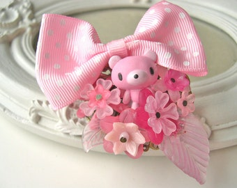 Hair Clip kawaii fairy kei lolita accessory teddy bear kanzashi PINK