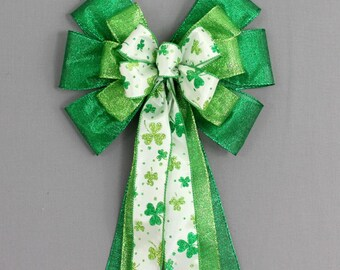 Green Sparkle Shamrock St Patrick's Day Bow - Shamrock Decorations, Luck of the Irish, Green Wreath Bow