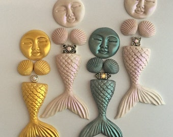 Mermaid Starter Kit, Bead Embroidery, Cabochons