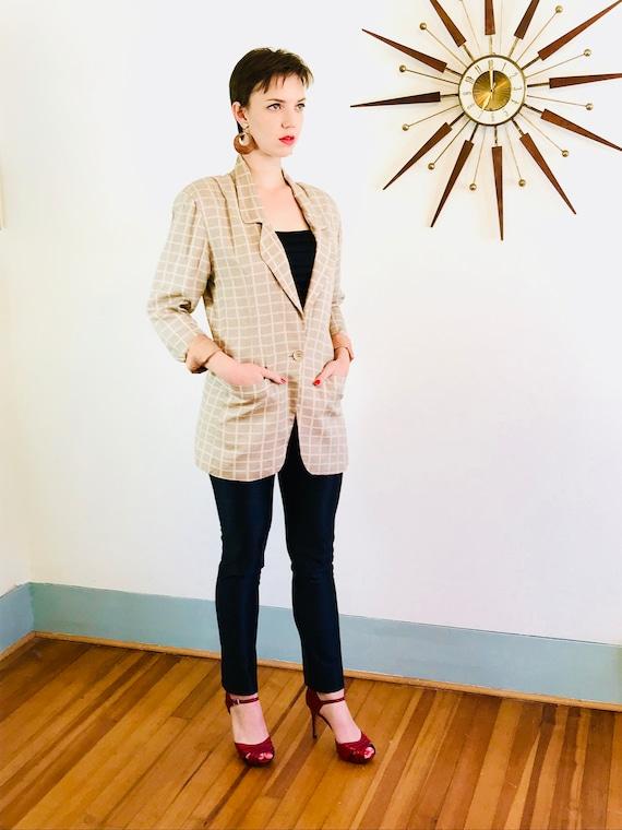 90s Silk Blazer, Boxy vintage blazer, Peach sage plaid, Ladies blazer, Oversized jacket, Big shoulder pads, beige ecru green, minimalist cut