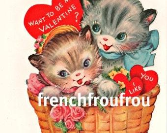 vintage valentine  kitten in basket pink roses illustration digital download