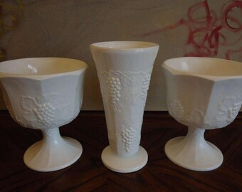 Vintage Harvest Milk Glass by Colony Classic  Footed Compote - Set of 2 and Vase